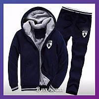 Мужской теплый зимний спортивный костюм трехнить с мехом темно-синий 44 46 48 50 52 54 56