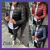 Мужская короткая стеганная зимняя куртка теплая на синтепоне бордо темно-синий черный S M L