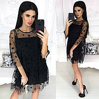 Женское короткое вечернее платье колокольчик черное серое пудра молоко 42-44 44-46