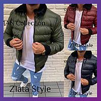 Мужская зимняя стеганная теплая куртка на синтепоне короткая с мехом бордо темно-синий хаки S M L