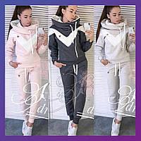 Женский зимний спортивный костюм на флисе с полосами графит беж розовый 42 44 46 48