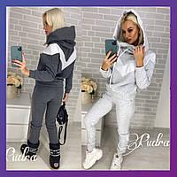 Женский зимний теплый спортивный костюм с полосами на флисе графит меланж розовый 42 44 46 48
