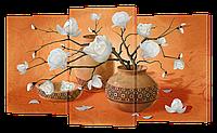 Модульная Картина Декор Карпаты Классическая Коллекция s245 163х99см Белые Розы в горшках hubdlZs, КОД: 1224511