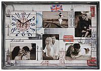 Настенные часы-фоторамка под 5 фотографии в деревянной раме DK Store F-5 Концепт hubqGvZ32222, КОД: 1223863