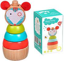 Детская деревянная Пирамидка Мышка