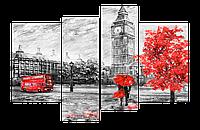 Модульная Картина Декор Карпаты s699 120х80см Лондонские Зарисовки hubeXtV98739, КОД: 1224703