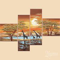 Схема для вышивки бисером полиптих цвета Африки