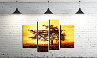 Модульная картина на холсте DK Store из четырех частей Дерево на закате SM4-p18, КОД: 1223499