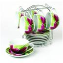 Сервиз керамический из 12 предметов на стойке Чашки 250мл «Тюльпаны»