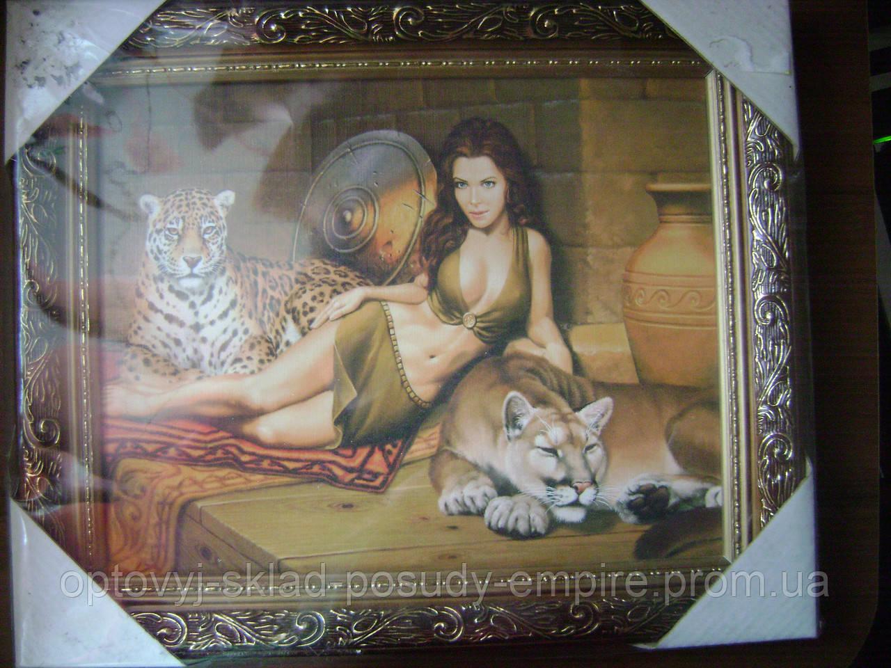 Картина 107466 Девушка с леопардом