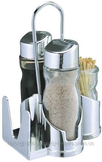 Спецовницы { соль+перец+салфетки+зубочистки } на пластиковой подставке (набор 5 пр) ЕМ0107
