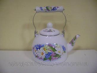 Чайник 2.0л эмалированный с керам.ручкой Zauberg 37 L Ромашка
