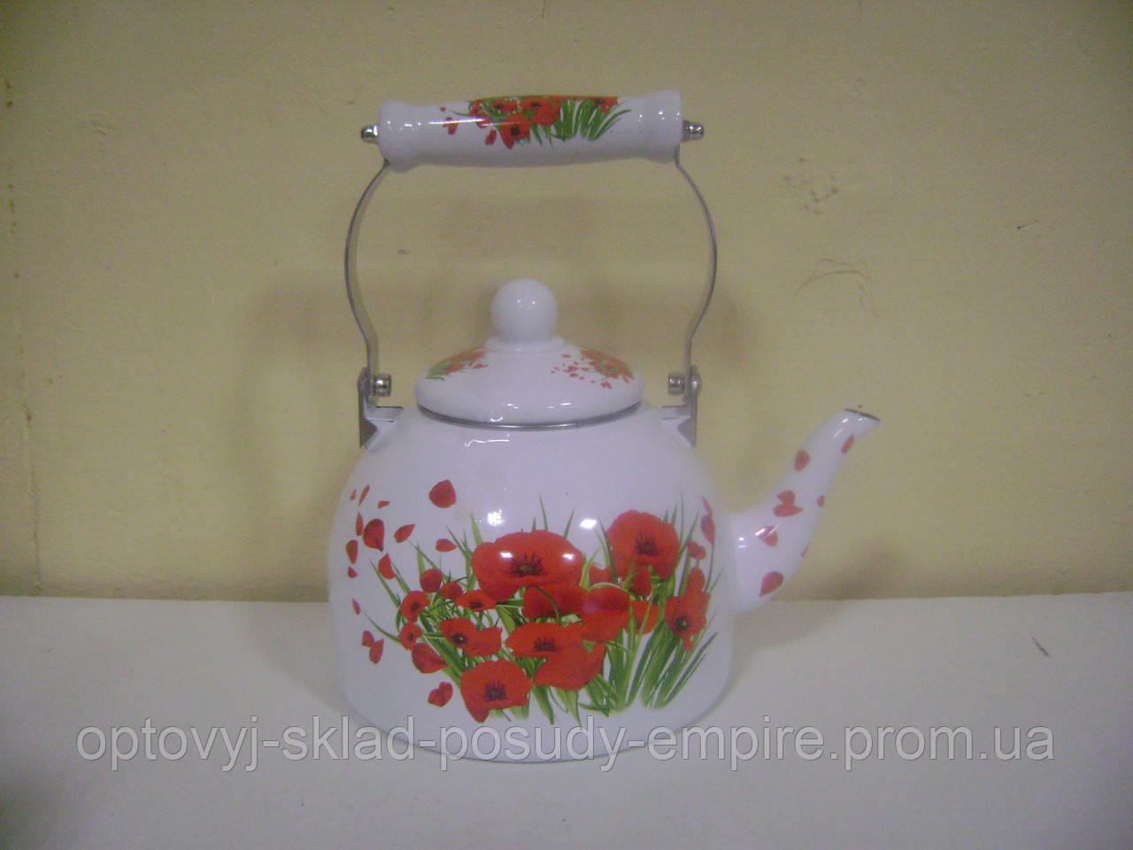 Чайник 2.0л эмалированный с керам.ручкой Zauberg 41L Маковый