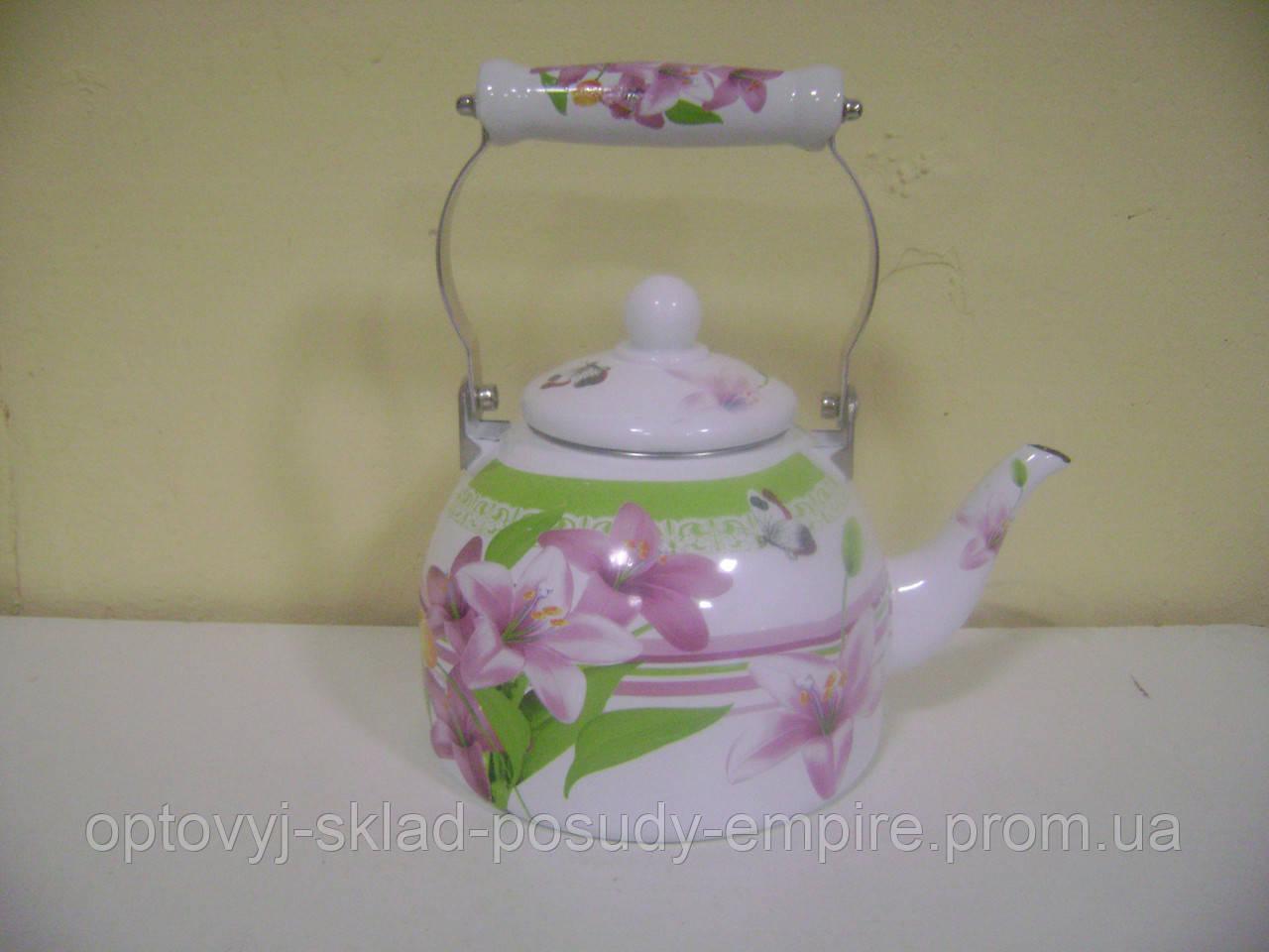 Чайник 2.0л эмалированный с керам.ручкой Zauberg  Розовая лилия