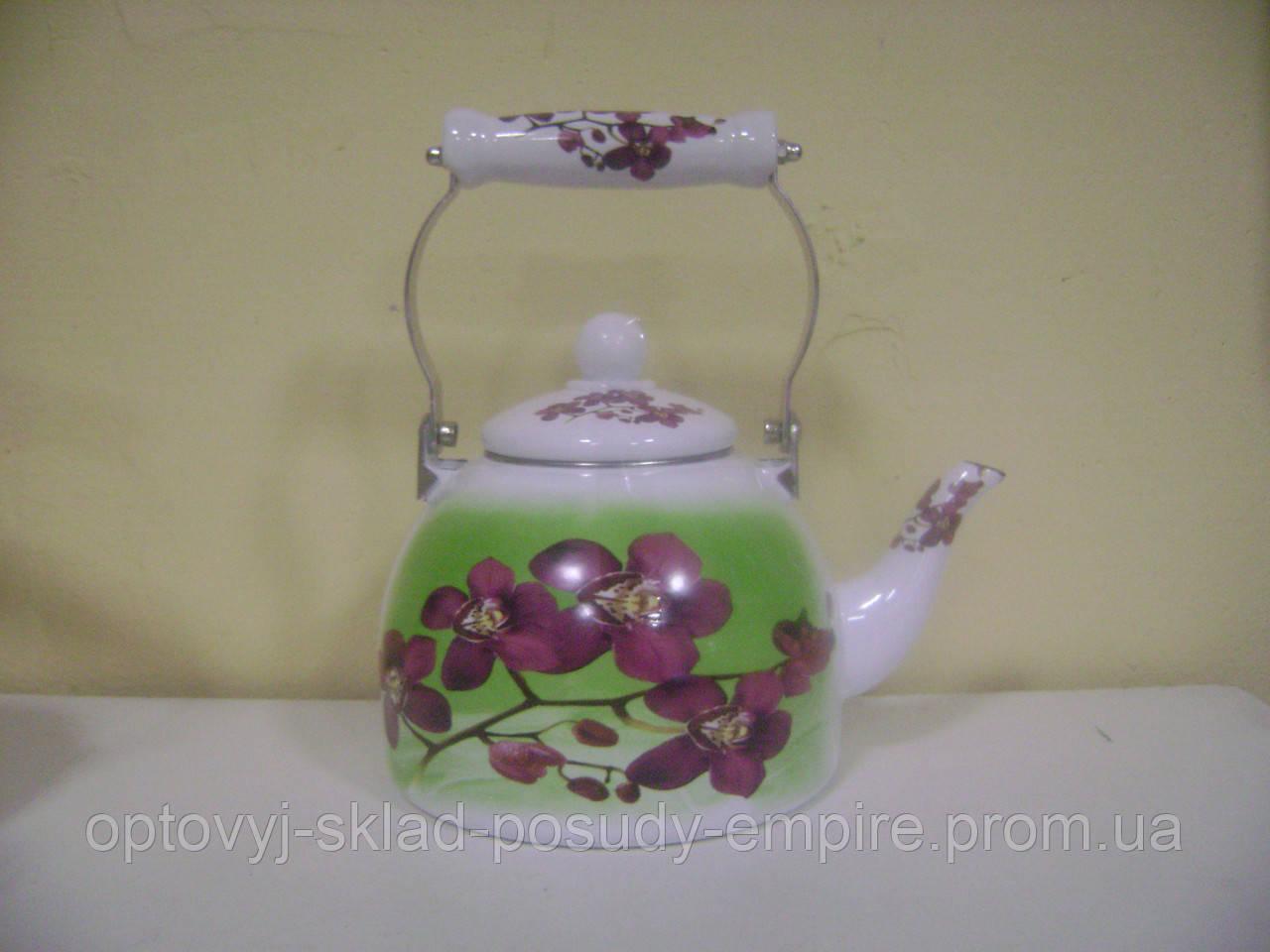 Чайник 2.0л эмалированный с керамической ручкой Zauberg Орхидея зеленый фон