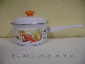 Ковш эмалированный с крышкой на 1,0 л белый Итальянская Кухня