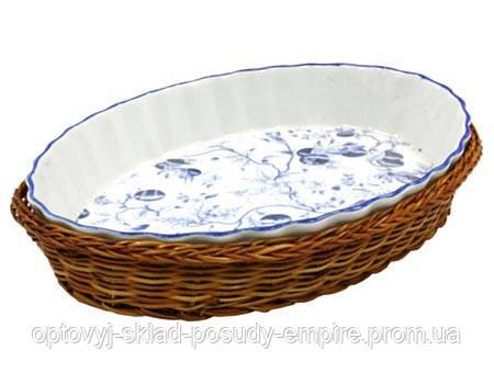 Блюдо  керамическое в плетенке овал. 28 см  OLIVE119