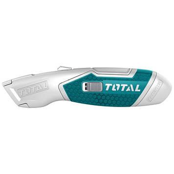 Нож монтажный TOTAL выдвижное лезвие 19x61мм. + 6 лезвий (TG5126101)
