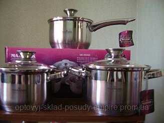 Набор посуды нержавейка 6 предметов  3 кастрюли с крышками и ковш с крышкой Максмарк МК-3506Е