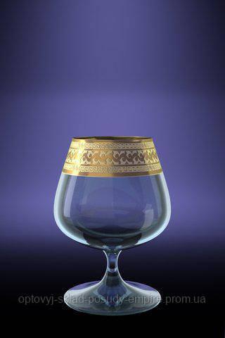 """Набір келихів для коньяку золото """"Едем"""" GE08-1812 малюнок """"Версаче"""" 6 шт."""