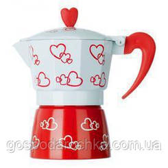 Кофеварка алюминиевая гейзерная Stenson R16593, алюминий на 3 чашки бело-красная