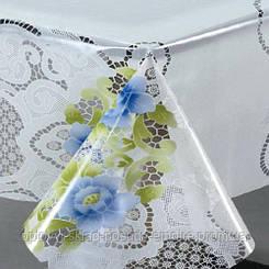 "Клеенка столовая ПВХ в рулоне силикон ""France"" 1.40*30м синий цветок на белом"