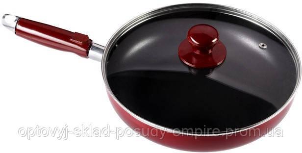 Сковорода 24см алюмінієва з тефлоновим покриттям і кришкою з жароміцного скла ЇМ 9924