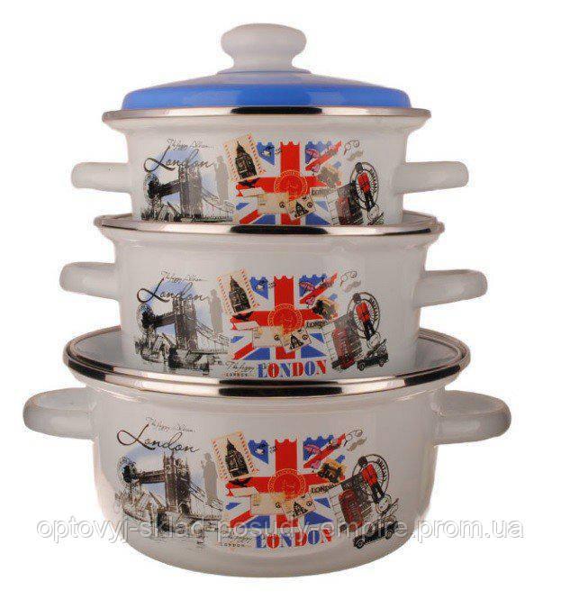 Набор кастрюль эмалированных с крышками 3шт объем 1л, 2л, 3л Лондон №93 Epos