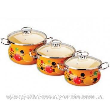 Набор посуды с двойным дном 2.5л, 3.5л, 5л эмалированный Капитошка Epos №1000