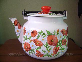 Чайник эмалированный 3,5 л с маками Маковое Поле 2713
