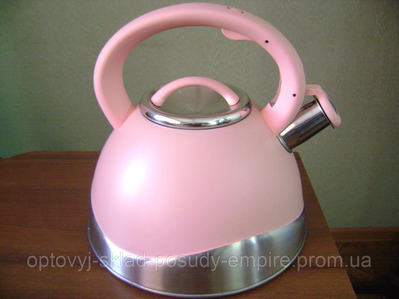 """Чайник зі свистком 3л для індукції рожевий з нержавіючої сталі """"А-плюс"""" WK 1379"""