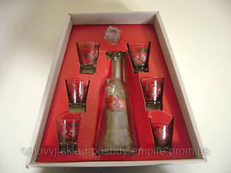 Набор для ликера графин+6 стопок Роза чайная 163-500