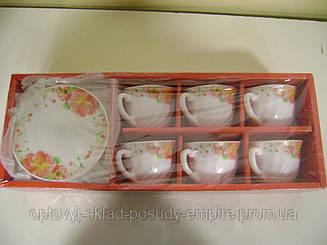 """Чайный сервиз стеклокерамика 12 предметов """"Розовый шиповник""""  61100"""
