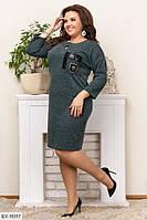 Повседневное платье из тонкого кашемира, прямого кроя, размеры 50, 52, 54, 56