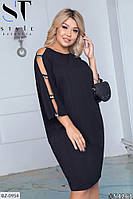Стильное женское черное платье-миди с оригинальным рукавом, размеры 50-52, 54-56, 58-60