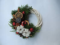 Новогодний рождественский венок с натуральным декором 5 22 см Зеленый 9590035IK, КОД: 258311