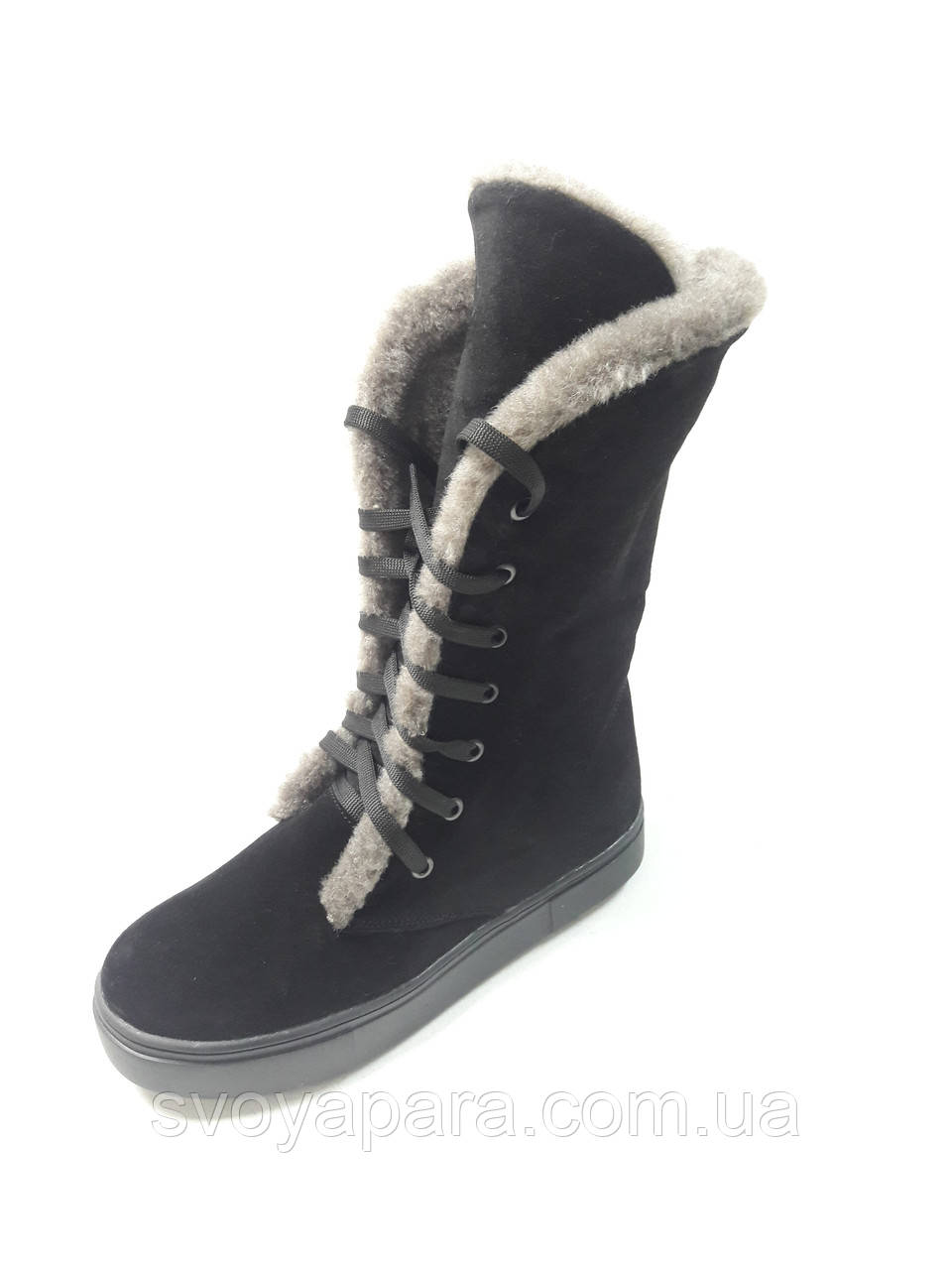 Женские зимние высокие ботинки черные замшевые (0156)