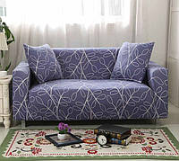 Чехол для двухместного дивана Supretto Синий с узором 5547-0004, КОД: 1284626