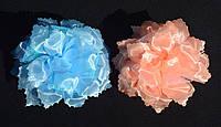 Банты для девочки на волосы. Голубой, персиковый.