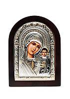 Икона Серебряная Божией Матери Казанская с позолотой AGIO SILVER (Греция)  57 х 75 мм, фото 1