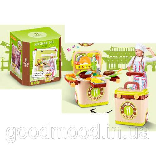 Кухня L666-36 плита, сковорідка, каструля, продукти, посуд, валіза, муз.,світло,бат.,кор.35-25-20см.