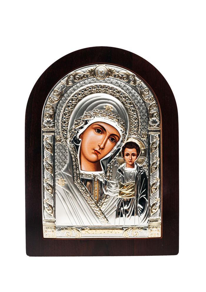 AGIO SILVER (Греция) Икона Серебряная Божией Матери Казанская с позолотой 75 х 103 мм