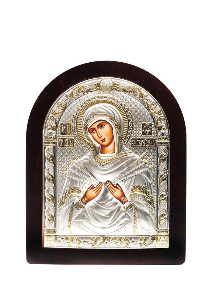 Икона Божьей Матери Семистрельная AGIO SILVER (Греция) Серебряная с позолотой 175 х 225 мм