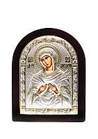 Икона Божьей Матери Семистрельная AGIO SILVER (Греция) Серебряная с позолотой 175 х 225 мм, фото 1