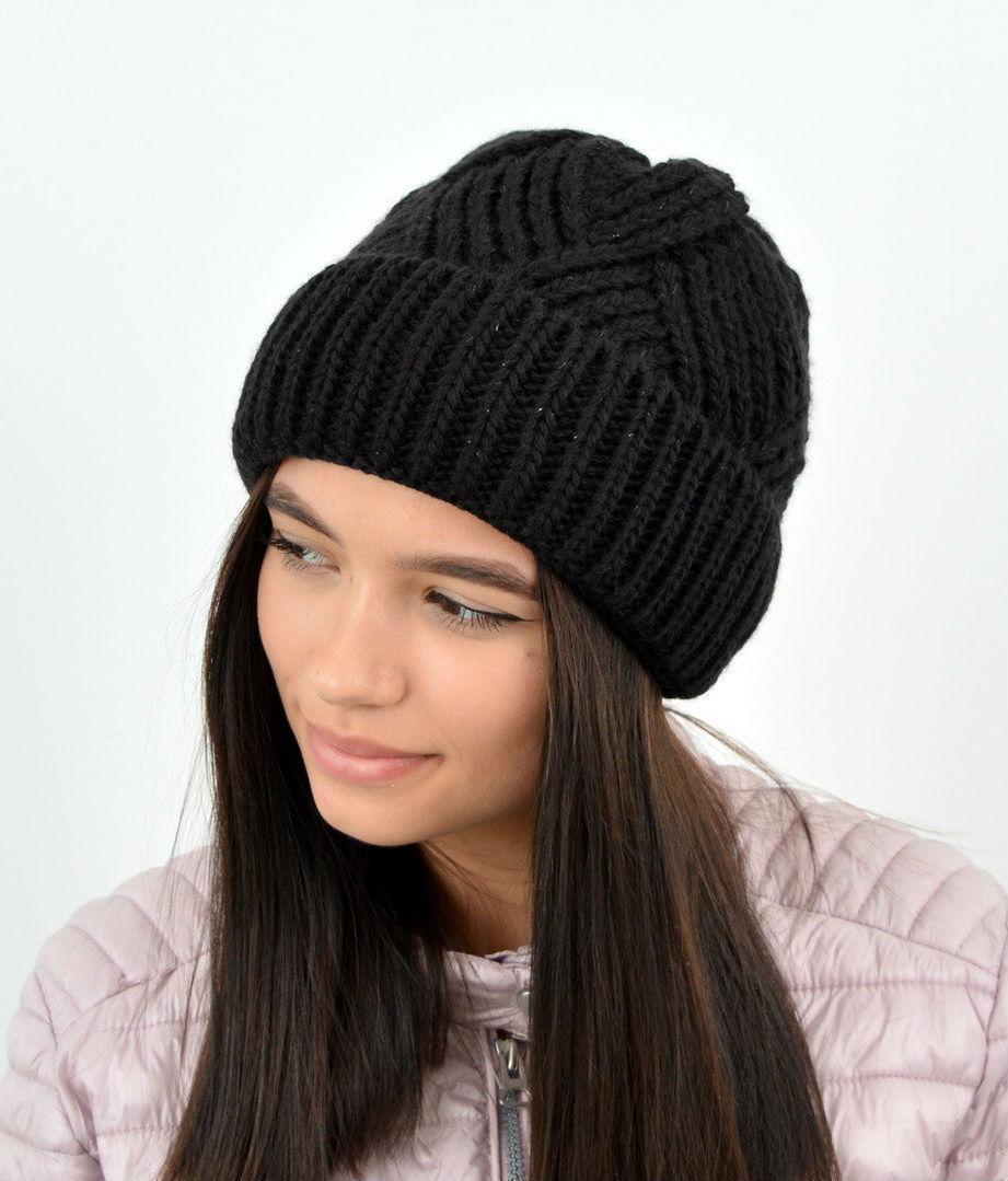 Молодежная модная вязанная шапка с отворотом, на флисе