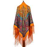 Караван 970-2, павлопосадский платок (шаль) из уплотненной шерсти с шелковой вязанной бахромой, фото 2