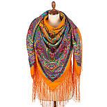 Караван 970-2, павлопосадский платок (шаль) из уплотненной шерсти с шелковой вязанной бахромой, фото 3
