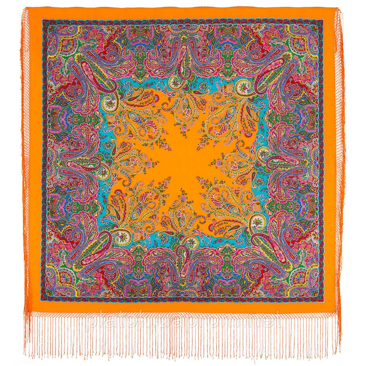 Караван 970-2, павлопосадский платок (шаль) из уплотненной шерсти с шелковой вязанной бахромой