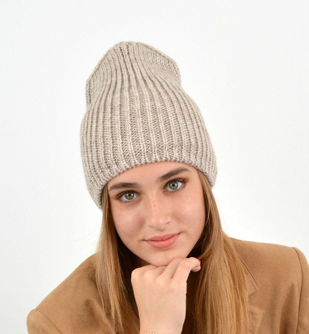 Молодежная модная вязанная шапка домик, на флисе