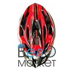 Велосипедный шлем универсальный со съемным козырьком красно-чёрный M/L